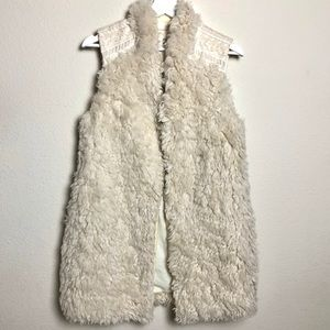 Anthropologie Hei Hei Embroidered Faux Fur Vest
